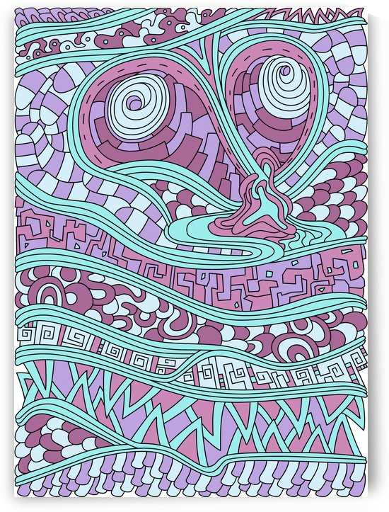 Wandering Abstract Line Art 03: Pink by Dream Ripple