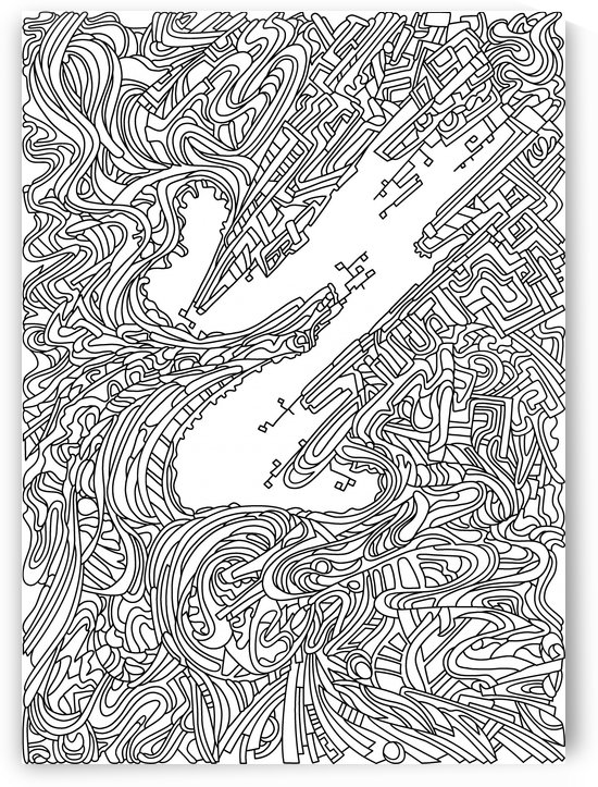 Wandering Abstract Line Art 05: Black & White by Dream Ripple