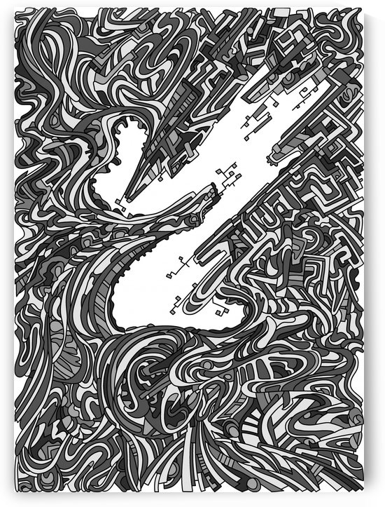 Wandering Abstract Line Art 05: Grayscale by Dream Ripple