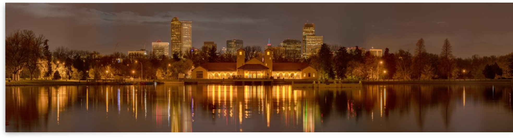 Spring Evening in City Park -- 8 x 32 ft. Wall Mural by John Freeman