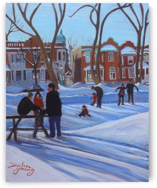 Learning to Skate at Outremont Park by Darlene Young Canadian Artist