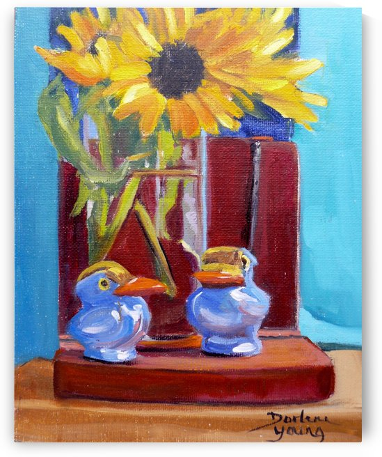 Sunflowers Books and Birds by Darlene Young Canadian Artist