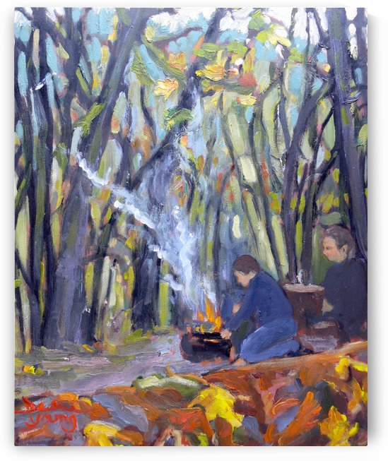 Autumn Campfire by Darlene Young Canadian Artist