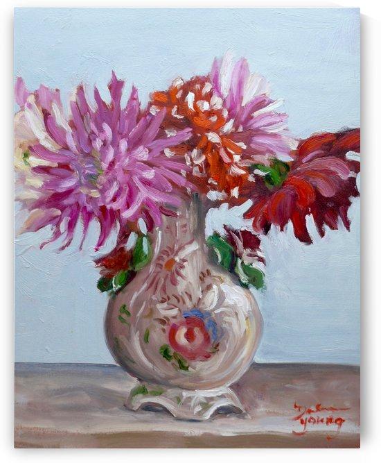 Dahlias in an Italian Vase by Darlene Young Canadian Artist