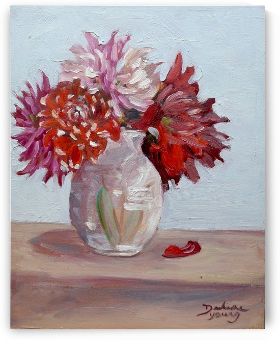 Dalias in a Vase 11x14 oil  Darlene Young Canadian Artist by Darlene Young Canadian Artist