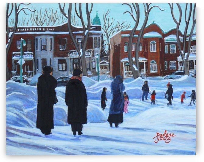 Watching the Kids Outremont by Darlene Young Canadian Artist