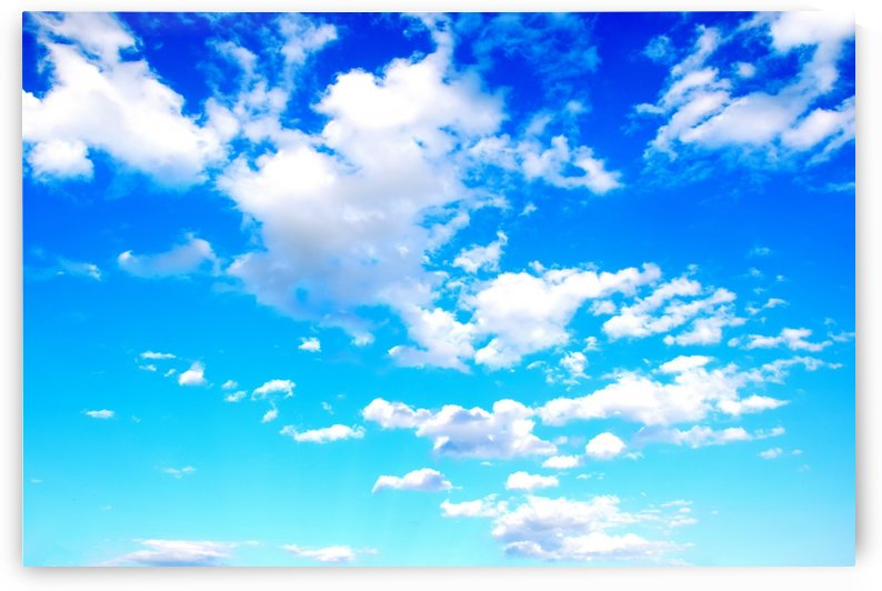 Bright Sky Blue with Clouds Colorful Scenic Background by Kikkia Jackson