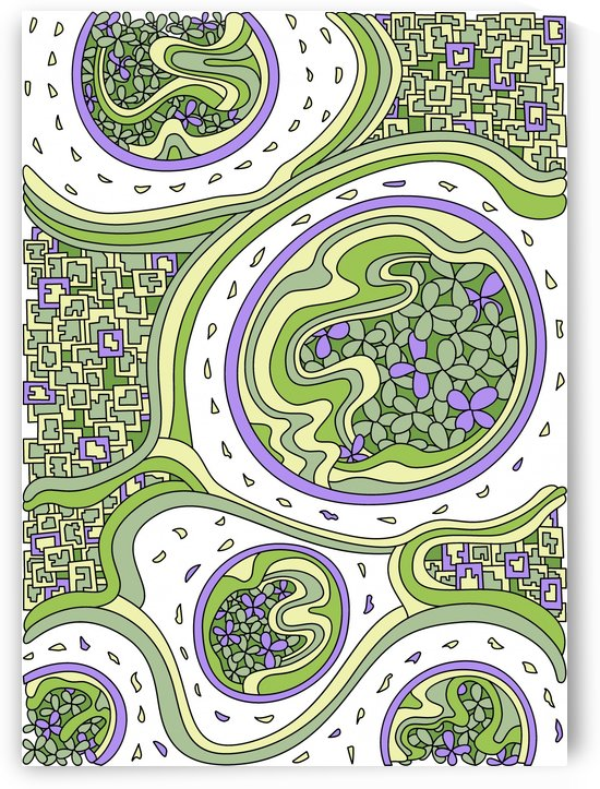 Wandering Abstract Line Art 06: Green by Dream Ripple