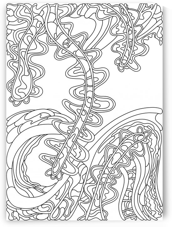 Wandering Abstract Line Art 07: Black & White by Dream Ripple