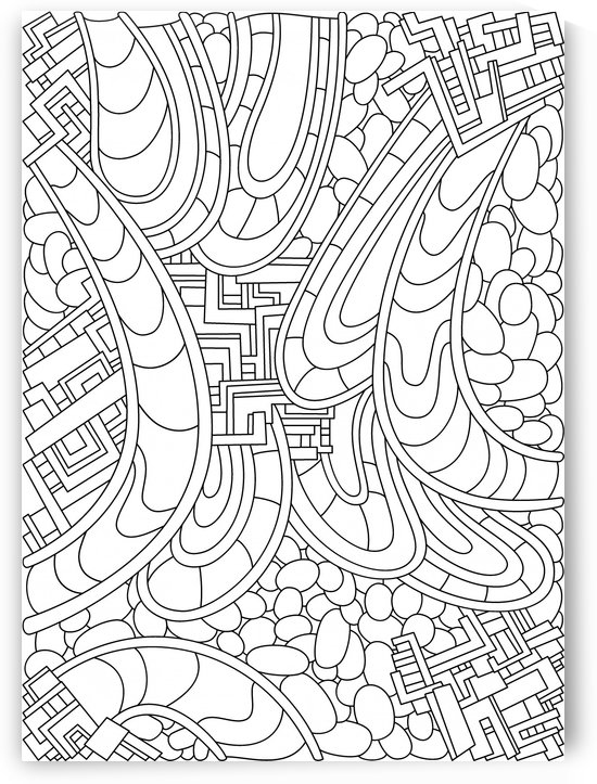 Wandering Abstract Line Art 09: Black & White by Dream Ripple