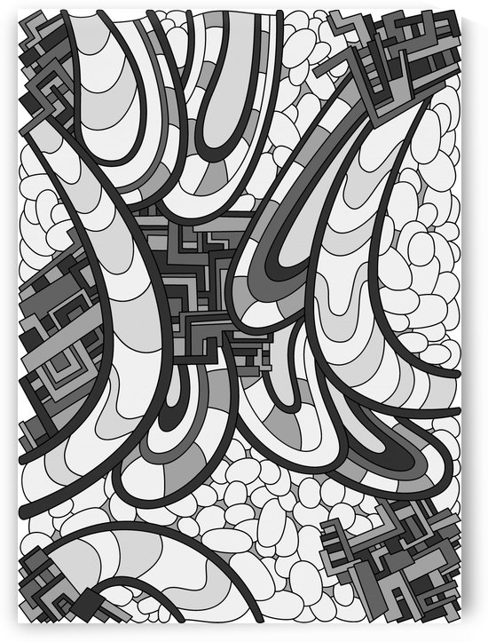 Wandering Abstract Line Art 09: Grayscale by Dream Ripple