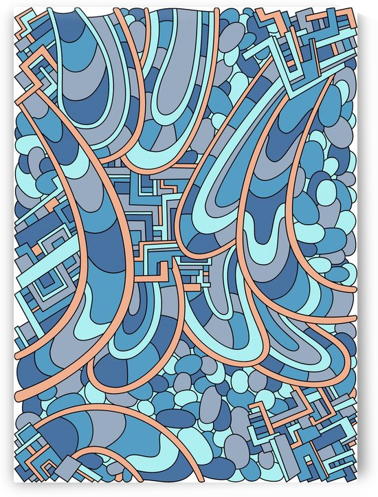 Wandering Abstract Line Art 09: Blue by Dream Ripple