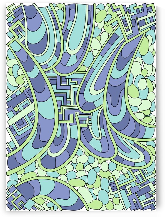 Wandering Abstract Line Art 09: Green by Dream Ripple