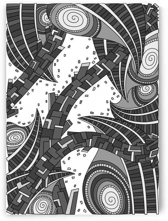Wandering Abstract Line Art 10: Grayscale by Dream Ripple