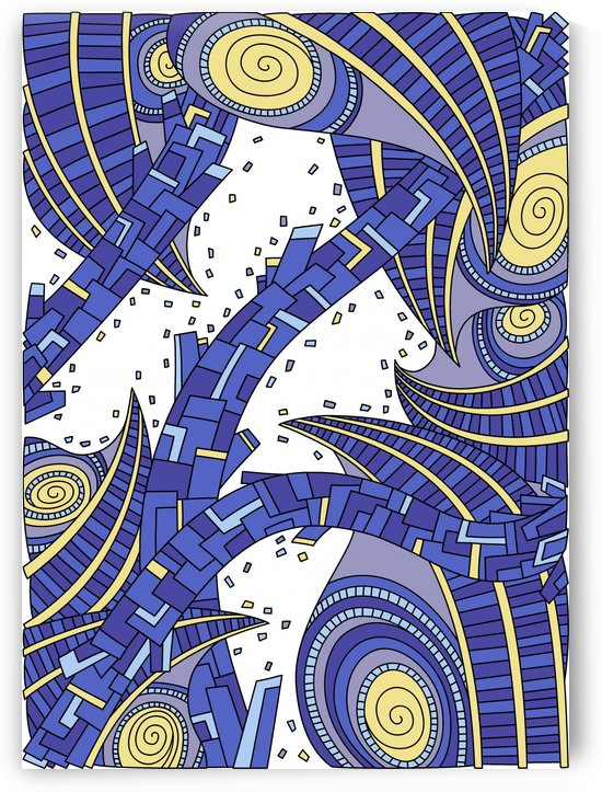 Wandering Abstract Line Art 10: Sapphire by Dream Ripple