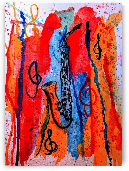 Saxophone Watercolor by Aurelia Schanzenbacher Sisters Fine Arts