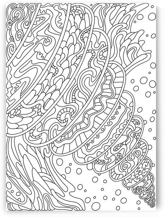 Wandering Abstract Line Art 11: Black & White by Dream Ripple