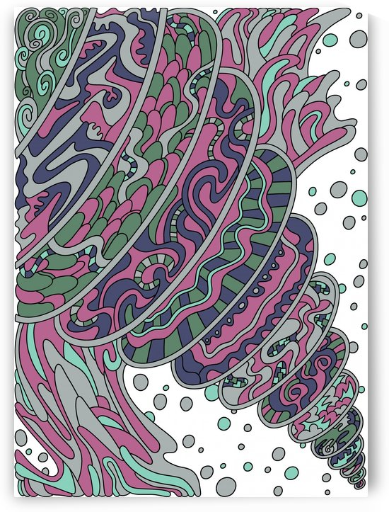 Wandering Abstract Line Art 11: Pink by Dream Ripple