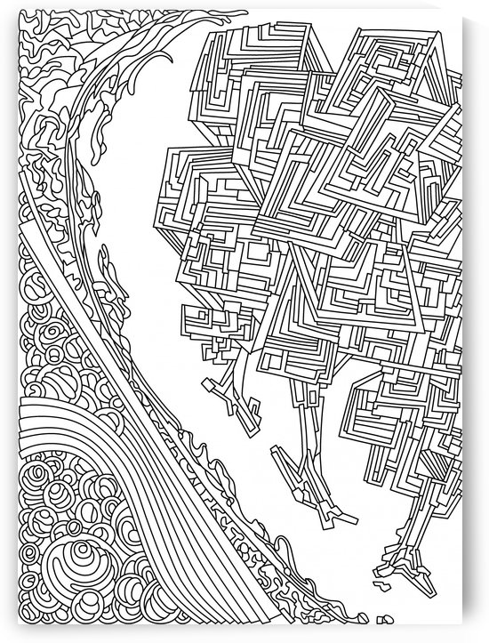 Wandering Abstract Line Art 12: Black & White by Dream Ripple
