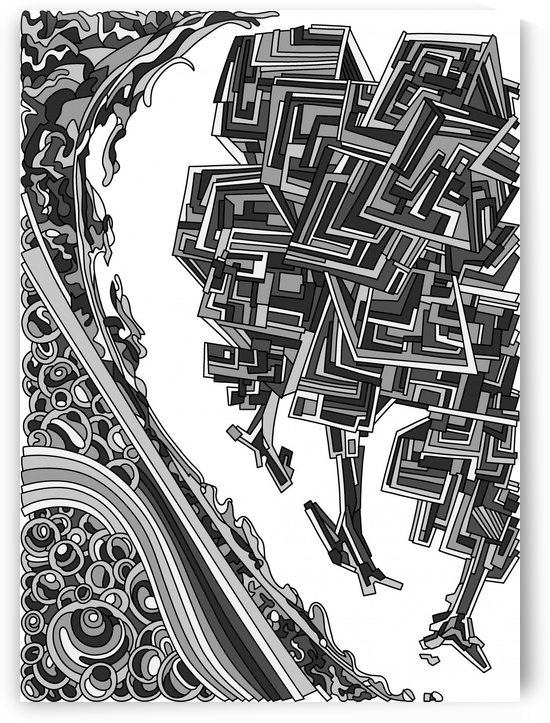 Wandering Abstract Line Art 12: Grayscale by Dream Ripple