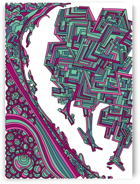 Wandering Abstract Line Art 12: Magenta by Dream Ripple