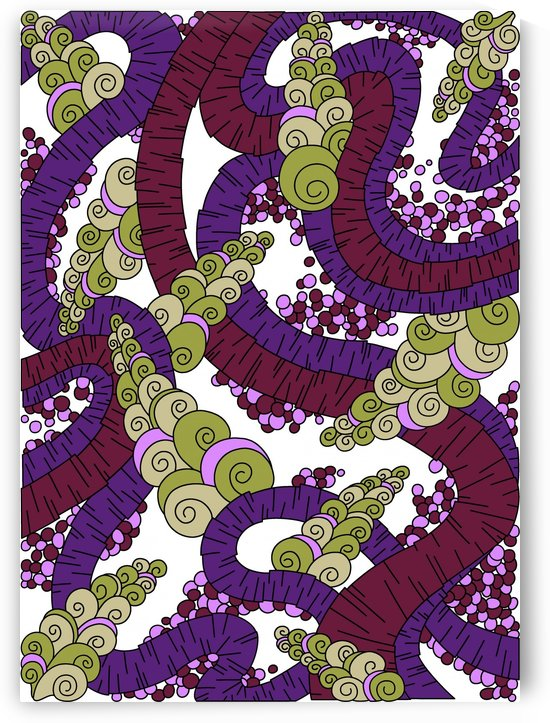 Wandering Abstract Line Art 13: Burgundy by Dream Ripple