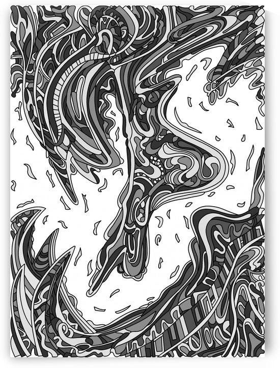Wandering Abstract Line Art 14: Grayscale by Dream Ripple