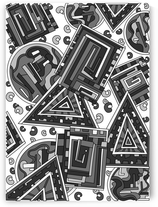 Wandering Abstract Line Art 15: Grayscale by Dream Ripple