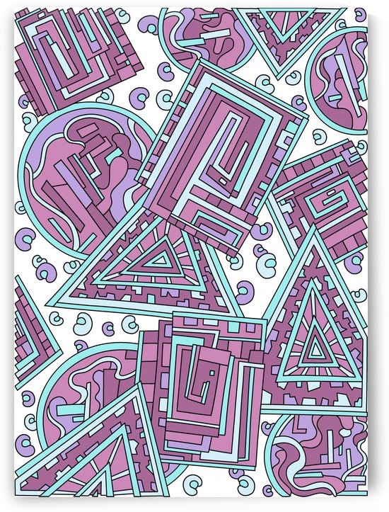 Wandering Abstract Line Art 15: Pink by Dream Ripple