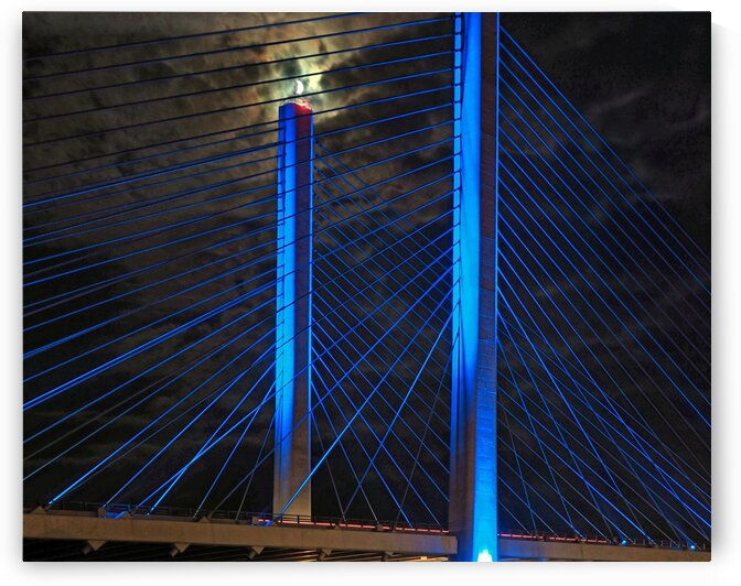 Indian River Bridge Candlestick Moon by Bill Swartwout Photography