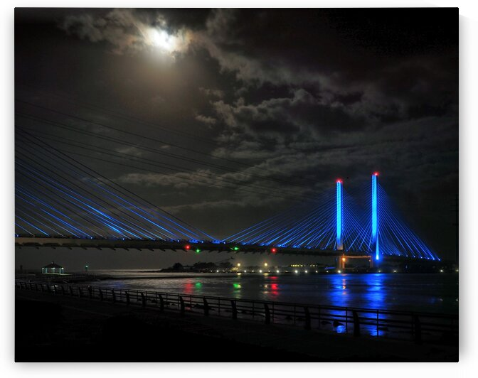 Supermoon Over the Indian River Inlet Bridge by Bill Swartwout Photography