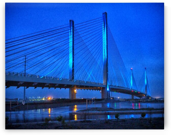 Blue Bridge In The Rain At Indian River Inlet by Bill Swartwout Photography