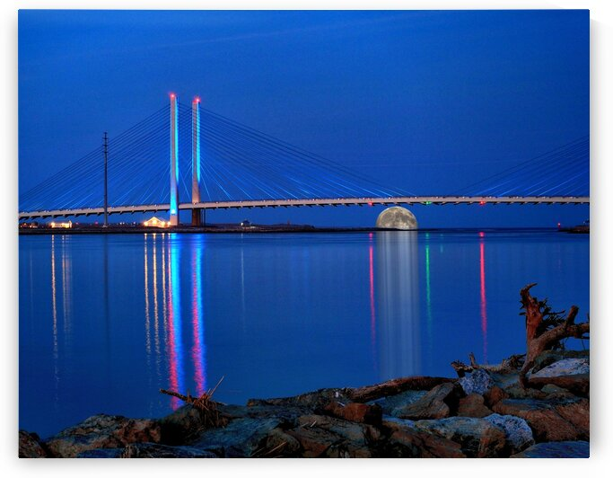 Full Moon Rising Under the Indian River Bridge by Bill Swartwout Photography