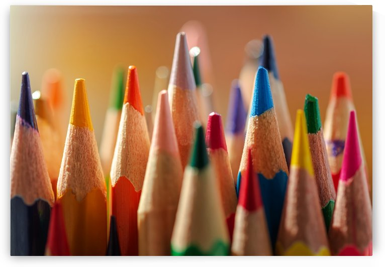 Close-up view of the sharpened colored pencils by Krit of Studio OMG
