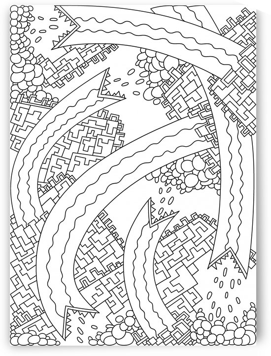 Wandering Abstract Line Art 19: Black & White by Dream Ripple