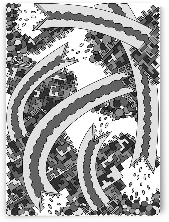 Wandering Abstract Line Art 19: Grayscale by Dream Ripple