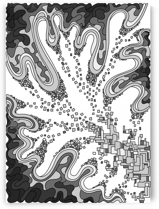 Wandering Abstract Line Art 22: Grayscale by Dream Ripple