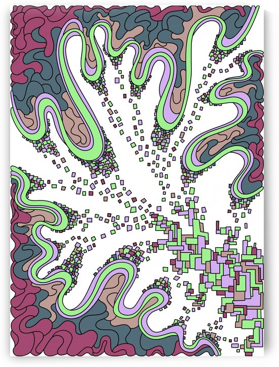 Wandering Abstract Line Art 22: Green by Dream Ripple