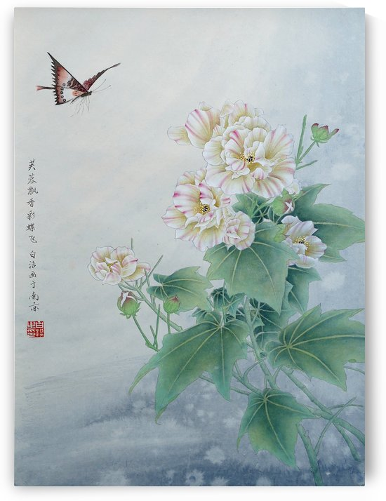 Chinese Flower With Butterfly by Birgit Moldenhauer