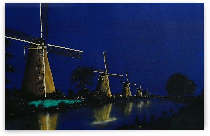 Night at Kinderdijk by Birgit Moldenhauer