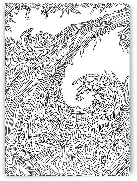Wandering Abstract Line Art 23: Black & White by Dream Ripple
