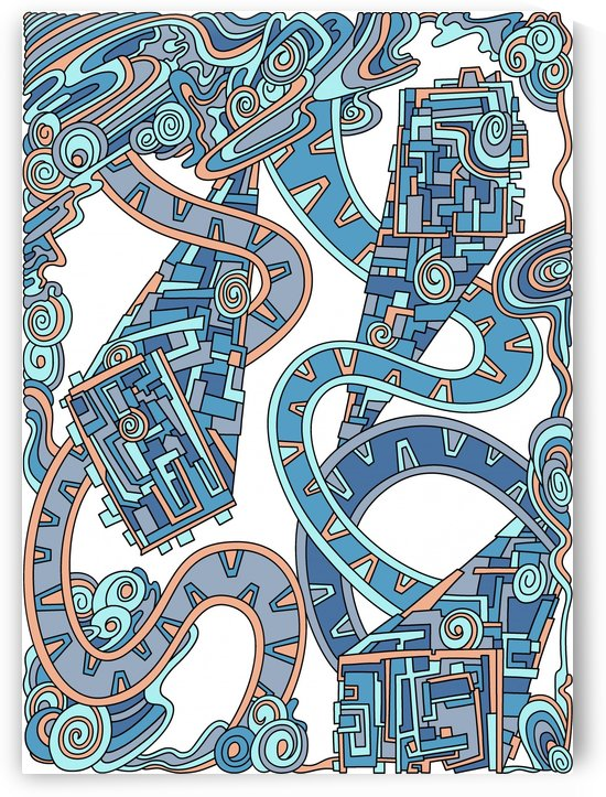 Wandering Abstract Line Art 24: Blue by Dream Ripple