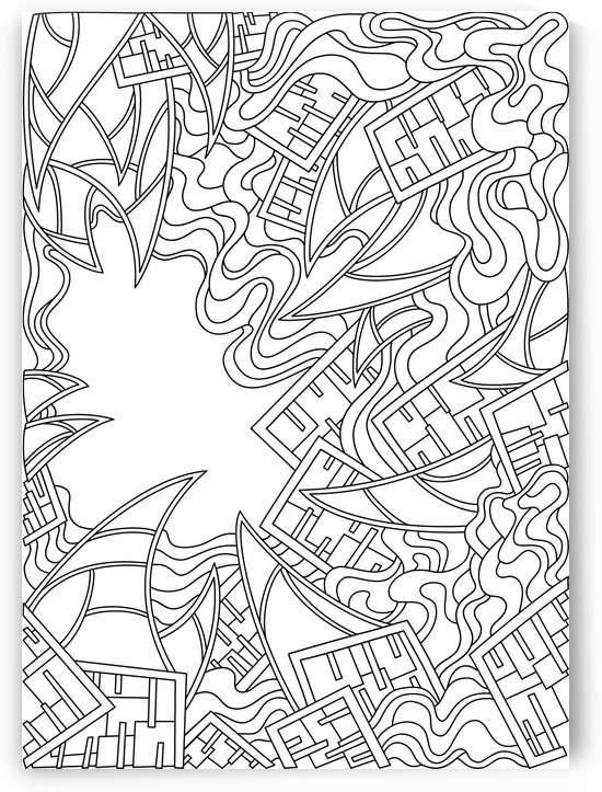 Wandering Abstract Line Art 25: Black & White by Dream Ripple