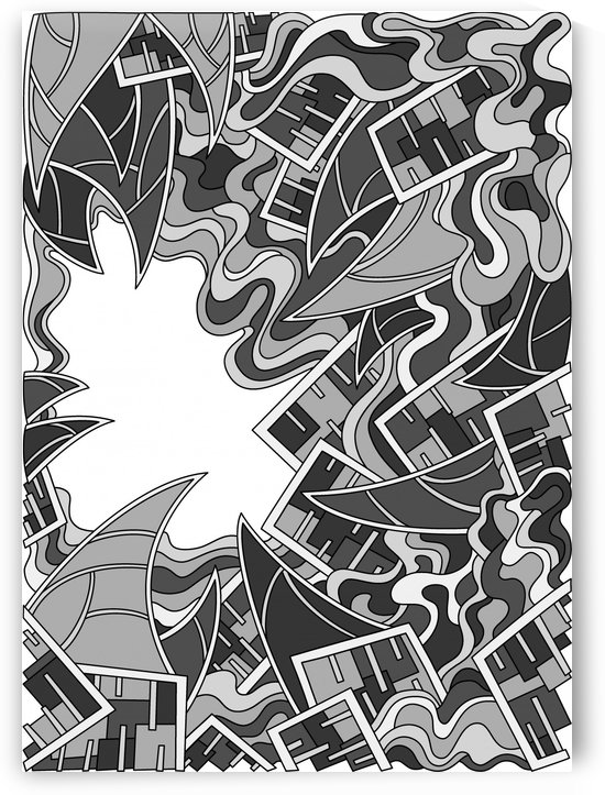 Wandering Abstract Line Art 25: Grayscale by Dream Ripple