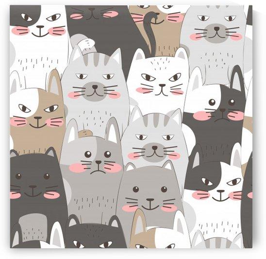 Cute cats seamless pattern by Shamudy