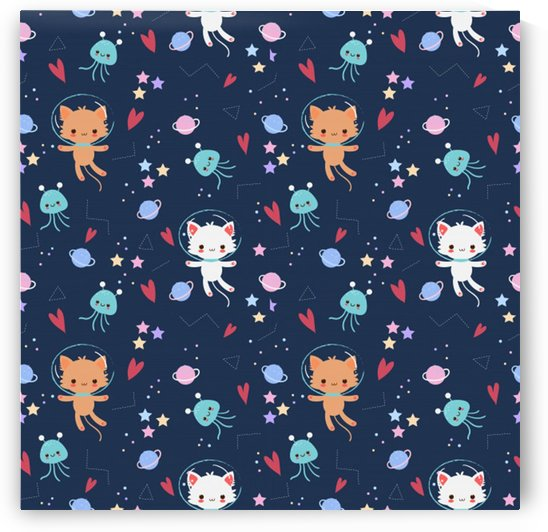cute astronaut cat with star galaxy elements seamless pattern by Shamudy