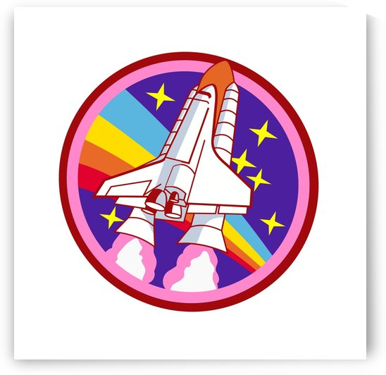 badge patch pink rainbow rocket by Shamudy