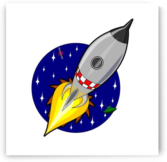 rocket ship launch vehicle moon by Shamudy