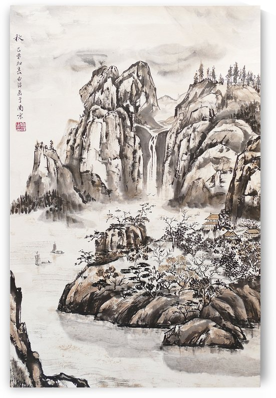 Yangze River with Water Fall by Birgit Moldenhauer