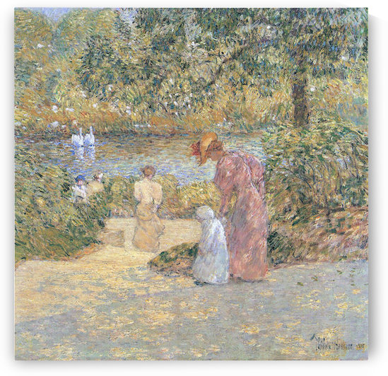 The staircase at Central Park by Hassam by Hassam